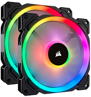 CORSAIR LL140 RGB 140mm Dual Light Loop RGB LED PWM Fan — 2 Fan Pack with Lighting Node PRO (CO-9050074-WW)