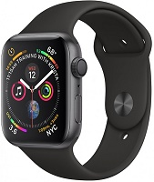 Apple Series 4 GPS, 44mm Space Grey  Aluminium Case with Black Sport Band, MU6D2VN/A